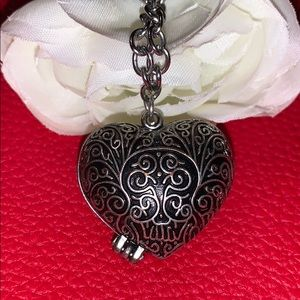 Silver Puffy Heart Locket Necklace